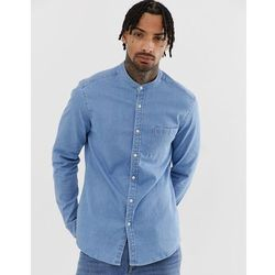 d3e47e56ff6 ASOS DESIGN stretch slim denim shirt in light wash with grandad collar -  Blue