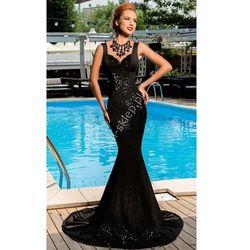 Czarna cekinowa długa sukienka | sukienki sylwetrowe, karnawałowe