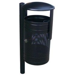 Czarny metalowy kosz na śmieci z daszkiem KN 3