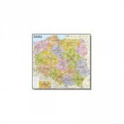 Polska. Mapa administracyjno-samochodowa (listwa) laminowana mapa ścienna w skali 1:570 000 (opr. miękka)