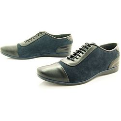 KENT 262 CZARNY-GRANAT - Stylowe buty męskie casual ze skóry