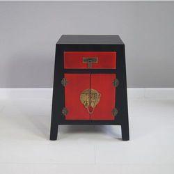 Komoda, szuflada, metalowe okucia, czarno-czerwony mat, styl azjatycki.