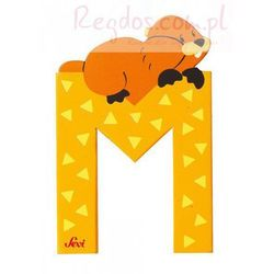 Drewniana literka M, zwierzęta