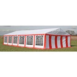 vidaXL Pawilon ogrodowy 12x6m (dach+penele boczne), czerwono-biały Darmowa wysyłka i zwroty