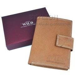 Męski portfel skórzany ALWAYS WILD D-1072L-MH-U jasny brąz - zapinany