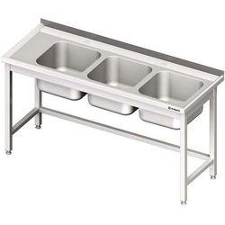Stół ze zlewem trzykomorowym bez półki spawany STALGAST 1900x600x850 prawy