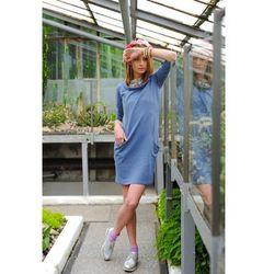 Sukienka z kapturem niebieska