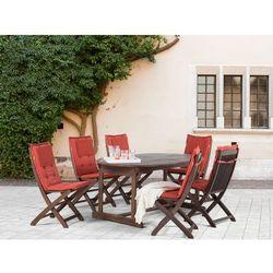 Meble ogrodowe - stół + 6 krzeseł + 6 ceglastych poduszek – MAUI