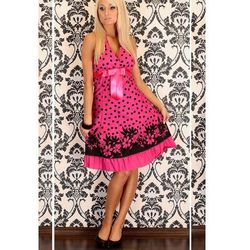 Różowa sukienka do kolan w czarne groszki - Gina - 4650