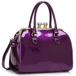Wyjątkowa lakierowana torebka damska kuferek fioletowa - fioletowy