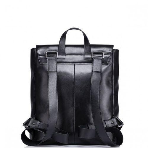 Elegancki skórzany męski plecak podróżny Czarny porównaj