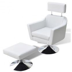 Fotel z podnóżkiem z imitacji skóry, biały Zapisz się do naszego Newslettera i odbierz voucher 20 PLN na zakupy w VidaXL!