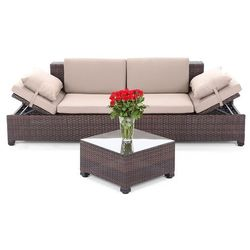 SOFA TECHNORATTANOWA MILANO BROWN LIGHT 2 W 1