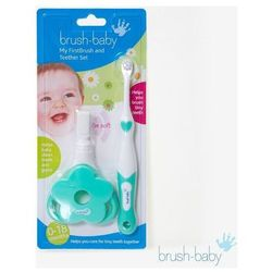 BRUSH-BABY My First Brush and Teether Set - Moja pierwsza szczoteczka 2 w 1
