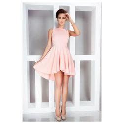Lacosta - Ekskluzywna sukienka z dłuższym tyłem - Brzoskwinia 33-1
