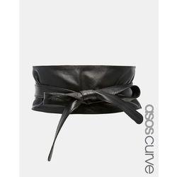 ASOS CURVE Leather Obi Waist Belt - Black