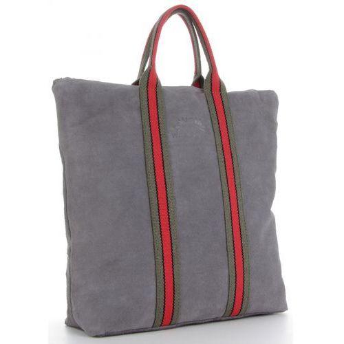 ffe201dcffc50 Uniwersalne Torebki Skórzane na każdą okazję Włoski Shopper z funkcją  Plecaczka w modne paski renomowanej firmy Vittoria Gotti Szary (kolory)