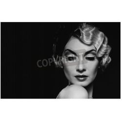 Fototapeta elegant blond retro woman wearing little hat with beautiful hairdo and red lipstick