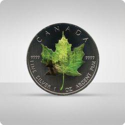"""Kanadyjski Liść Klonowy 1 uncja srebra - kolor """"wiosna"""""""