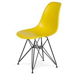 Krzesło DSR BLACK - Oliwowe, nogi czarne metalowe.