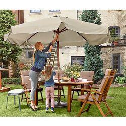 Duży parasol ogrodowy, szarobeżowy