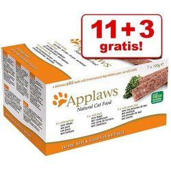 11 + 3 gratis! Applaws Cat Paté, 14 x 100 g - Wołowina, indyk, ryba morska