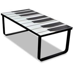 vidaXL Szklany stolik kawowy z nadrukiem pianina Darmowa wysyłka i zwroty