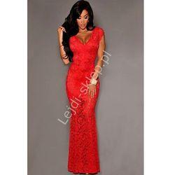 Czerwona długa koronkowa sukienka | koronkowe długie suknie, wesele, studniowka