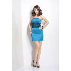 Sukienka bombka - IVON - 113 Niebieska