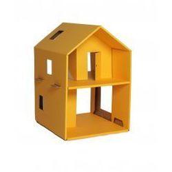 Żółty tekturowy domek dla lalek