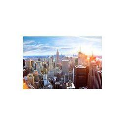 Foto naklejka samoprzylepna 100 x 100 cm - Widok z lotu ptaka Manhattan Skyline o zachodzie słońca, New York City