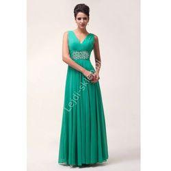 Szmaragdowo zielona długa suknia wieczorowa z kryształkami w pasie   sukienki na sylwestra, bal, studniówkę
