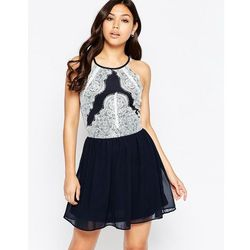 Girl In Mind Candyce Lace Panel And Chiffon Skater Dress - Navy
