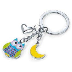 Breloczek do kluczy z emaliowaną sową marki TROIKA Nachteule Blue