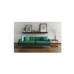 Foto naklejka samoprzylepna 100 x 100 cm - Nowoczesne wnętrze, zielony tapczan, stół klatek na podłodze z drewna