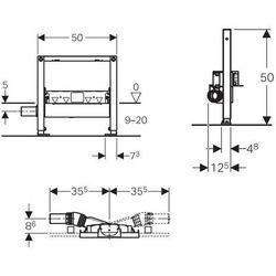 Geberit Duofix Element montażowy do natrysków z odpływem ściennym, h90, H50, 111.591.00.1