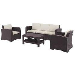 Zestaw mebli ogrodowych z technorattanu Monaco sofa 3 os. + 2 fotele + stolik brązowy