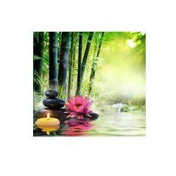 Foto naklejka samoprzylepna 100 x 100 cm - Masaż w przyrodzie - lilia, kamienie, bambus - zen koncepcji