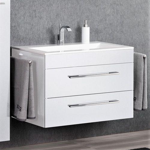 Lanzet Biała Szafka łazienkowa Z Umywalką 90 Cm P5 Biały Wysoki