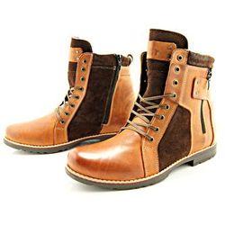KENT 237 KARMEL+WELUR - Wysokie męskie buty zimowe ze skóry