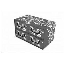 Pudełko kartonowe 4 szuflady poziome BAROKOWE KWIATY-SZARE 44x25x25
