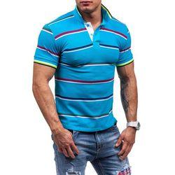 Turkusowa koszulka polo męska Denley 4012 - TURKUSOWY