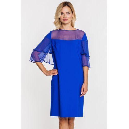 bb1342ef2d Niebieska sukienka z motylkowymi rękawami z szyfonu - Paola Collection