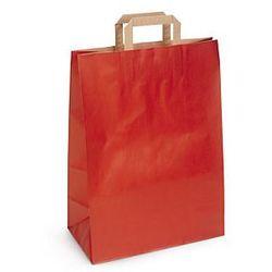 Torba papier kraft prążkowany, czerwona, płaski uchwyt, 450x490x150 mm, nadruk 2 strony, 2 kolory