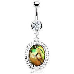 piercing Body Art 01NAL11740 - Abalone Inlayed Oval