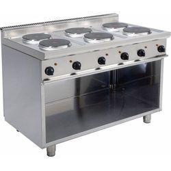 Kuchnia elektryczna | 6 płyt | 6 x 2,6 kW | 1200x700x850mm