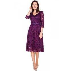 Rozkloszowana sukienka z koronki w kolorze fioletowym - GaPa Fashion