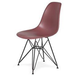 Krzesło DSR BLACK - Koktajl malinowy, nogi czarne metalowe.