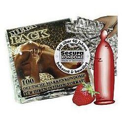 Secura Red Sin Mega Pack Prezerwatywy nawilżane truskawkowe 100 sztuk