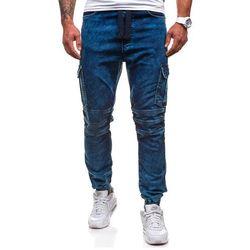 Atramentowe spodnie joggery bojówki męskie Denley 4257 - ATRAMENTOWY